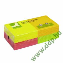 Öntapadós jegyzettömb 75x75mm rainbow neon 4x3x80lap/csomag Q-CONNECT -FT510282971/KF10508-
