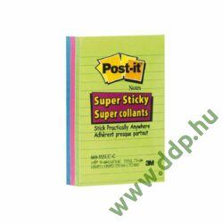 3M Post-it 660-3SSUC 102x152mm/ 3x 90lap öntapadós jegyzettömb szivárványcsomag, vonalazott, ultra színek -70005253409-