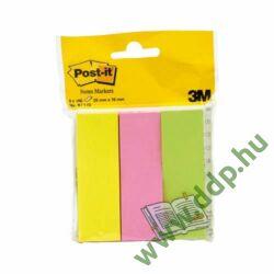 3M Post-it 671/3 jelölőlap 25x76mm 100lap 3tömb neon öntapadós jegyzettömb -FT510285875-
