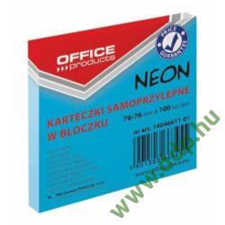 Öntapadós jegyzettömb 76X76, 100lap neon kék -14046611-01-