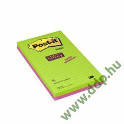 3M Post-it Super Sticky jegyzettömb 125x200 mm, 5845 SS EU, 45 lap, 2 tömb, vonalas Ultra színek öntapadós jegyzettömb -70005253391-
