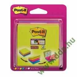 3M Post-it Super Sticky Easy select jegyzetkocka 76×76 mm, 2014SC-BYFG, 4x75 lap, 4 különböző szín öntapadós jegyzettömb -UU003083563-