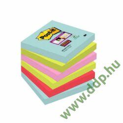 3M Post-it Super Sticky öntapadós jegyzettömb szivárványcsomag szivárványcsomag 76x76mm, 654-6SS-MIA, 90 lap, 6 tömb/csm