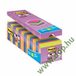 3M Post-it Super Sticky öntapadós jegyzettömb csomag 76x76mm, 90lap, 24 tömb 654- P24SSCOL-EU -70005281897-