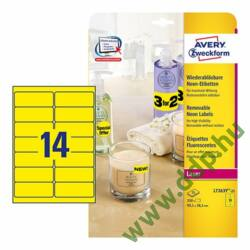 Etikett 7263Y neon sárga 99,1x38,1mm 25 ív Avery-Zweckform -L7263Y-25-