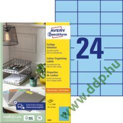 Etikett címke speciális kék 70 x 37 mm 3449 Avery-Zweckform