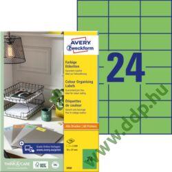 Etikett címke speciális zöld 70x37mm 3450 100ív Avery-Zweckform