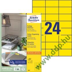 Etikett címke speciális sárga 70 x 37 mm 3451 Avery-Zweckform