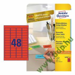 Etikett 6038-20 45,7x21,2mm 20 ív piros Avery-Zweckform -L6038-20-