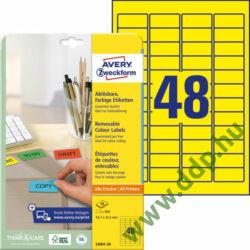 Etikett 6041-20 45,7x21,2mm 20 ív sárga Avery-Zweckform -L6041-20-