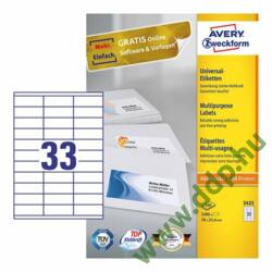 Etikett címke univerzális 3421 70x25,4mm 100ív Avery-Zweckform