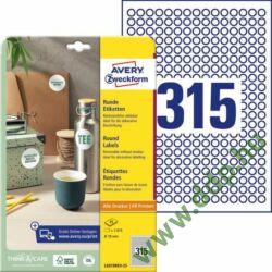 Etikett 6019 10mm 25ív L6019REV-25 Avery-Zweckform