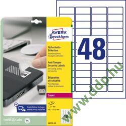 Etikett 6113 45,7x21,2mm 20 ív biztonsági Avery-Zweckform -L6113-20-