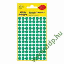 Etikett öntapadó 8mm kör Avery-Zweckform 3012 zöld 416 jelölőpont/csm