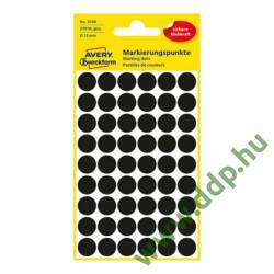 Etikett öntapadó 12mm 270 jelölőpont/csm Avery-Zweckform fekete -3140-