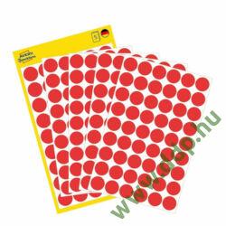 Etikett öntapadó kör 12mm 270 jelölőpont/csm Avery-Zweckform piros -3141-