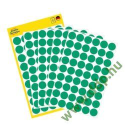 Etikett öntapadó kör 12mm 270 jelölőpont/csm Avery-Zweckform zöld -3143-