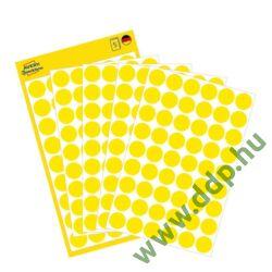 Etikett öntapadó kör 12mm 270 jelölőpont/csm Avery-Zweckform sárga -3144-