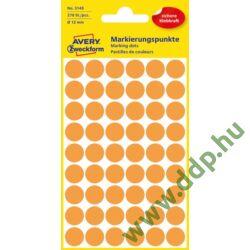 Etikett öntapadó kör 12mm 270 jelölőpont/csm Avery-Zweckform narancs -3148-