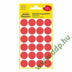 Etikett öntapadó kör 18mm 96 jelölőpont/csm Avery-Zweckform piros -3004-