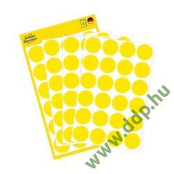 Etikett öntapadó kör 18mm 96 jelölőpont/csm Avery-Zweckform sárga -3007-