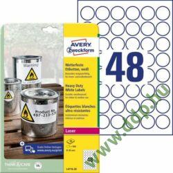 Etikett címke speciális L4716-20 időjárásálló fehér poliészter címke ø 30 mm