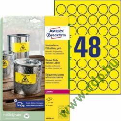 Etikett címke speciális L6128-20 időjárásálló sárga poliészter címke 30 mm