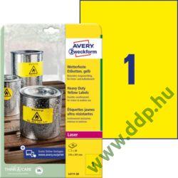 Etikett címke speciális L6111-20 időjárásálló sárga poliészter címke 210 x 297 mm