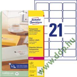 Etikett 7560 63,5x38,1mm 25ív átlátszó L7560-25 Avery-Zweckform QuickPeel