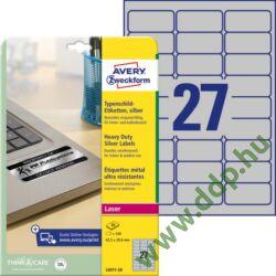 Etikett címke speciális L6011-20 ipari ezüst poliészter címke 63,5 x 29,6 mm
