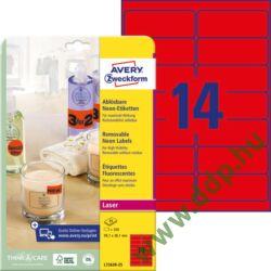 Etikett címke speciális visszaszedhető L7263R-25 neonpiros címke 99,1 x 38,1 mm