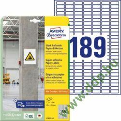 Etikett címke szuper tapadású fehér 25,4x10mm -L7871- Avery-Zweckform