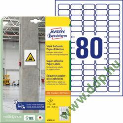 Etikett címke szuper tapadású fehér 35,6x16,9mm -L7872- Avery-Zweckform