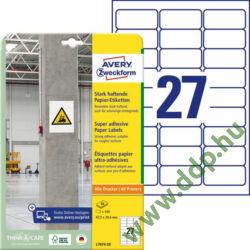 Etikett címke szuper tapadású fehér 63,5x29,6mm -L7874- Avery-Zweckform