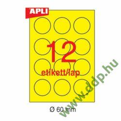 Etikett öntapadó kör 60 mm átmérő, 240 etikett/csm neon sárga APLI -LCA2866-