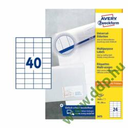 Etikett címke univerzális fehér 52,5x29,7mm 220ív -3651-200- Avery-Zweckform