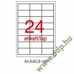 Etikett LCA1226 64,6 x 33,8 mm fehér vízálló 480db/csomag 20 ív APLI