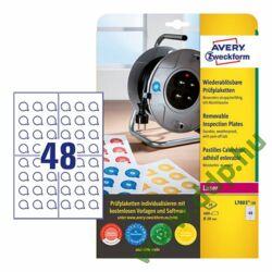 Etikett címke visszaszedhető plakettek nyomtatható, fehér 20mm, Avery-Zweckform