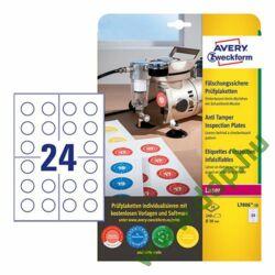 Etikett címke biztonsági plakettek nyomtatható, fehér 30mm, Avery-Zweckform
