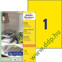 Etikett címke univerzális 210x297mm 100ív sárga Avery-Zweckform