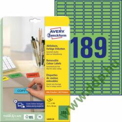 Etikett címke speciális visszaszedhető zöld 25,4x10mm 20ív -L6049-20- Avery-Zweckform