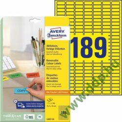 Etikett címke speciális visszaszedhető sárga 25,4x10mm 20ív -L6037-20- Avery-Zweckform