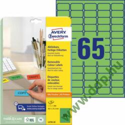 Etikett címke speciális visszaszedhető zöld 38,1x21,2mm 20ív -L4792-20- Avery-Zweckform