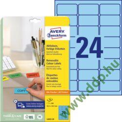 Etikett címke speciális visszaszedhető kék 63,5x33,9mm 20ív -L6032-20- Avery-Zweckform