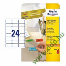 Etikett címke speciális visszaszedhető piros 63,5x33,9mm 20ív -L6034-20- Avery-Zweckform