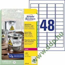 Etikett címke speciális időjárásálló poliészter 45,7x21,2mm 20ív Avery-Zweckform