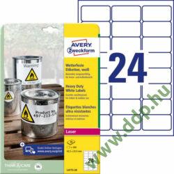 Etikett címke speciális időjárásálló poliészter fehér 63,5x33,9mm 100ív -L4773-100- Avery-Zweckform