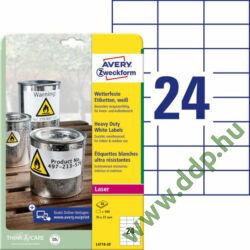 Etikett címke speciális időjárásálló poliészter fehér 70x37mm 20ív Avery-Zweckform