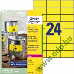 Etikett címke speciális időjárásálló poliészter sárga 70x37mm 20ív Avery-Zweckform