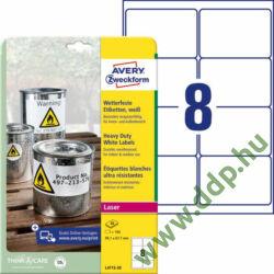 Etikett címke speciális időjárásálló poliészter fehér 99,1x67,7mm 20ív -L4715-20- Avery-Zweckform